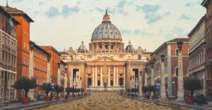 Piazza San Pietro ricoperta di sabbia